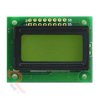 Wyświetlacz LCD alfanumeryczny  [RÓŻNE WARIANTY] - 2x8 - Zielony